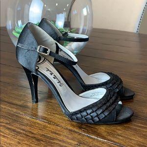 Gabriella Rocha black satin ruffle heels size 8